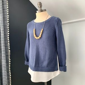 Ann Taylor LOFT Blue Knit Layered Sweater SMALL
